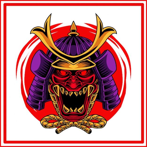 Logo mascotte testa oni samurai Vettore Premium