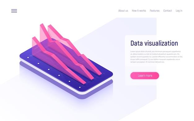 Analisi online, analisi dei dati e concetto isometrico di visualizzazione. Vettore Premium