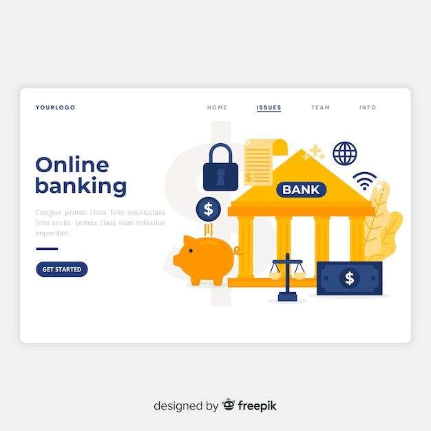 Pagina di destinazione di banking online Vettore Premium