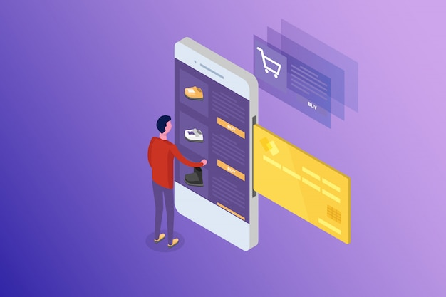Online banking e shoping, pagamenti mobili, concetto isometrico di trasferimento di denaro. illustrazione. Vettore Premium