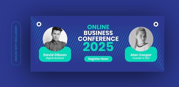 Modello di banner conferenza di lavoro online Vettore Premium