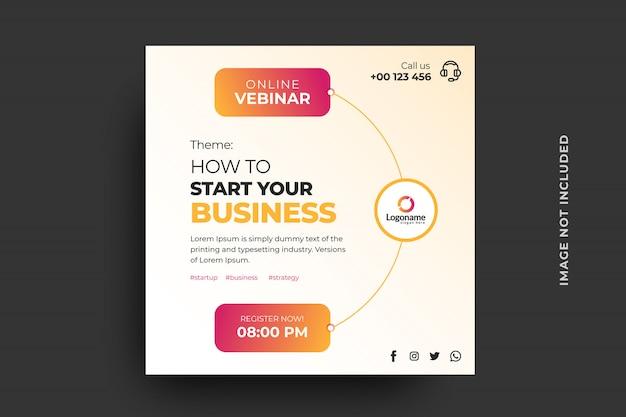Modello di banner webinar business online Vettore Premium