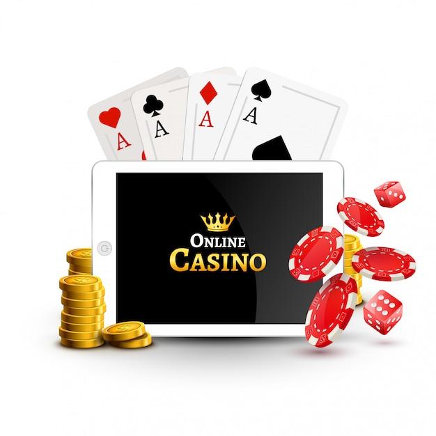 Banner di poster design casinò online. tablet con fiches da poker, monete e carte sul tavolo. sfondo di gioco d'azzardo del casinò, app mobile di poker Vettore Premium
