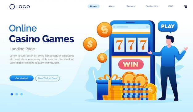 Modello piatto del sito web della pagina di destinazione dei giochi da casinò online Vettore Premium