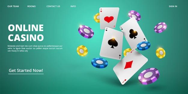 Pagina di destinazione del casinò online. carte e chip realistici di vettore. modello di banner web casinò. illustrazione del gioco del casinò poker, carta jackpot e gioco d'azzardo Vettore Premium