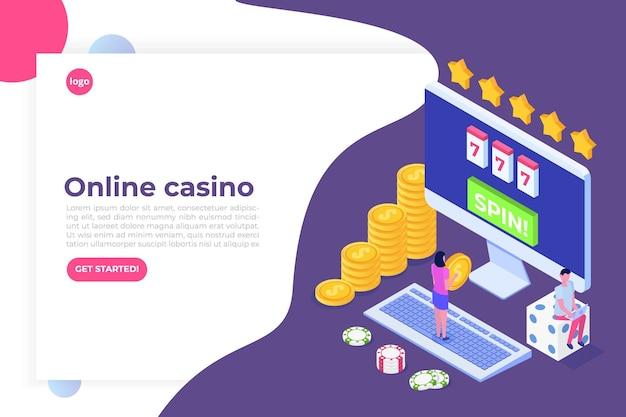 Casinò online, gioco d'azzardo online, illustrazione isometrica di app di gioco Vettore Premium