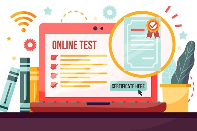 Certificazione online con laptop e scrivania Vettore Premium