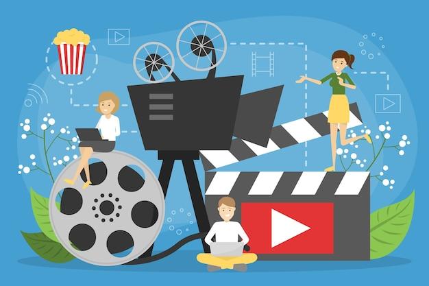 Concetto di cinema online. intrattenimento a casa con i popcorn Vettore Premium