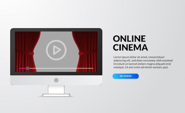 Cinema online, video e film in streaming con il concetto di dispositivo a casa. schermo del desktop del computer con palco tenda rossa e pulsante con l'icona di riproduzione. illustrazione della pagina di destinazione Vettore Premium