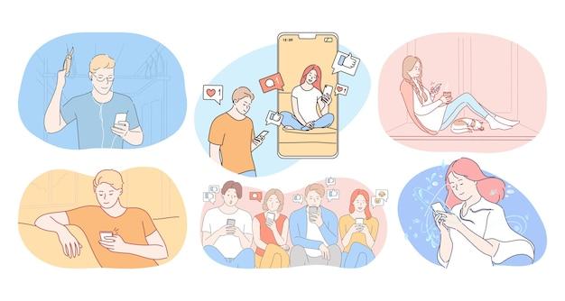 Comunicazione online e chat su smartphone Vettore Premium