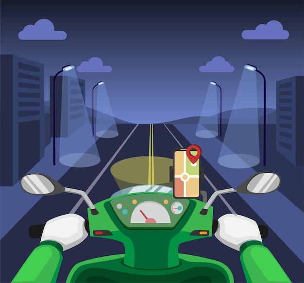 Trasporto corriere online cruscotto del motociclo notturno di guida con mappa gps sul concetto di smartphone nell'illustrazione del fumetto Vettore Premium