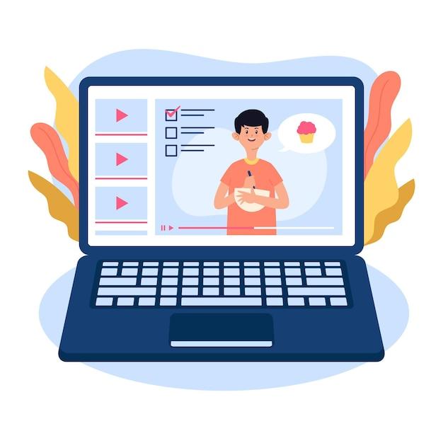 Concetto di corsi online Vettore Premium