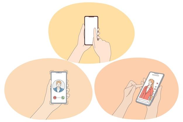Appuntamenti online e applicazione per chattare e concetto di comunicazione. Vettore Premium