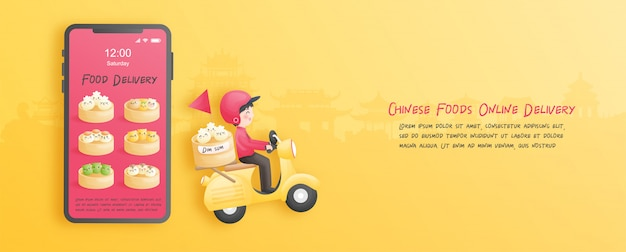 Consegna online dal negozio con ragazzo delle consegne su uno scooter. stile taglio carta. illustrazione. Vettore Premium