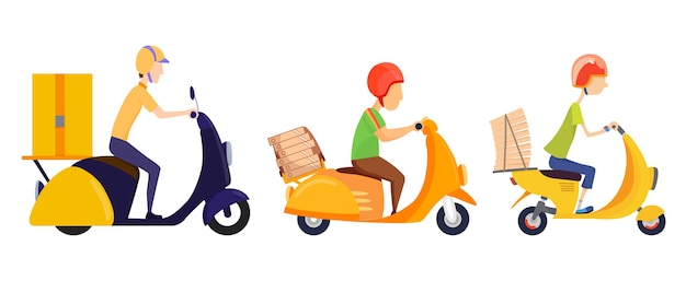 Concetto di servizio di consegna online. consegna a casa o in ufficio. Vettore Premium
