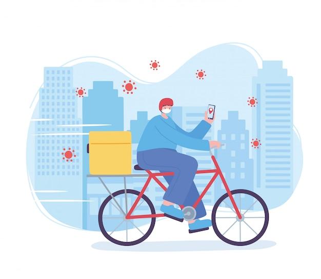 Servizio di consegna online, uomo in bici con maschera e smartphone, coronavirus, illustrazione di trasporto veloce e gratuita Vettore Premium
