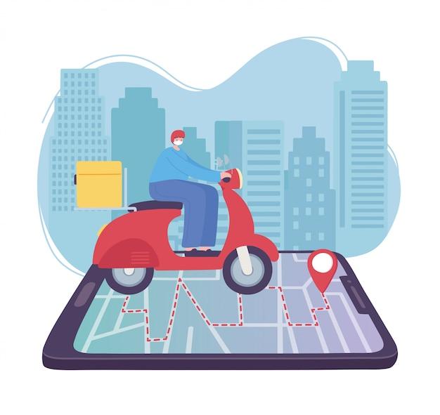 Servizio di consegna online, uomo in sella a uno scooter sulla mappa dello smartphone al puntatore, trasporto veloce e gratuito, spedizione ordini, illustrazione del sito web dell'app Vettore Premium