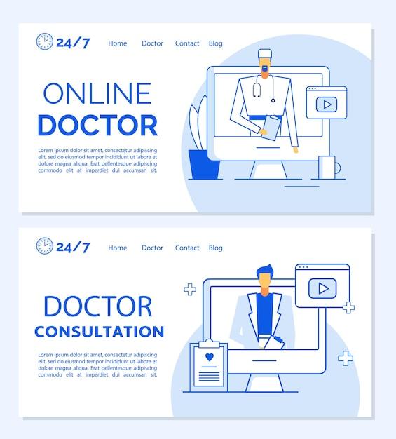 Set di modelli di pagina di destinazione medica di consultazione medica online. appuntamento a distanza, linea di assistenza clinica professionale, pronto soccorso del paziente, diagnosi, servizio di visita. telemedicina. assistenza sanitaria virtuale Vettore Premium