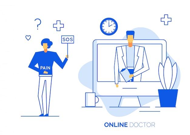 Tecnologia di consultazione medico online sul computer portatile Vettore Premium