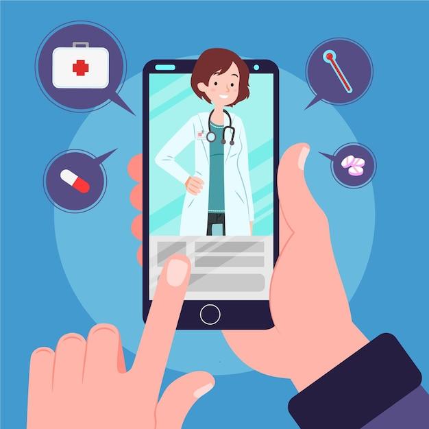 Medico online con smartphone Vettore Premium