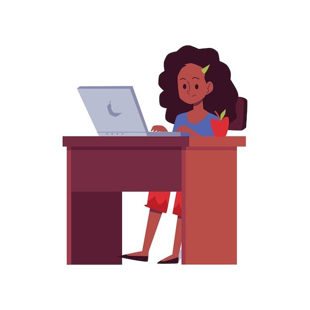 Concetto di formazione online un personaggio dei cartoni animati afroamericano ragazza adolescente seduto alla scrivania e studiare, illustrazione su sfondo bianco Vettore Premium