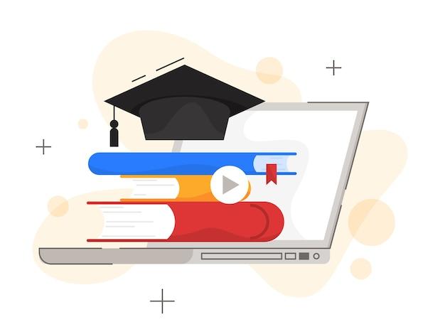 Concetto di formazione online. formazione digitale e apprendimento a distanza. e-learning e concetto di tecnologia moderna. acquisisci conoscenza online utilizzando il computer. illustrazione Vettore Premium