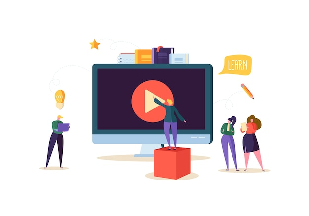 Concetto di formazione online. e-learning con persone piatte che guardano video in streaming sul computer. caratteri degli studenti universitari di laurea. Vettore Premium