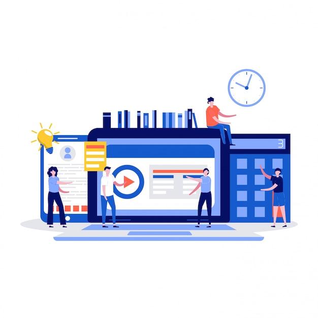 Concetto di formazione online con personaggi degli studenti. Vettore Premium