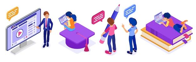Formazione online o esame a distanza con e-learning corso internet di carattere isometrico Vettore Premium