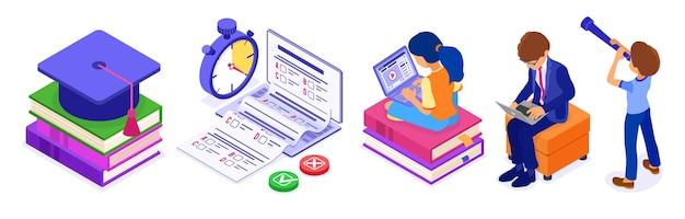 Formazione online o esame a distanza Vettore Premium