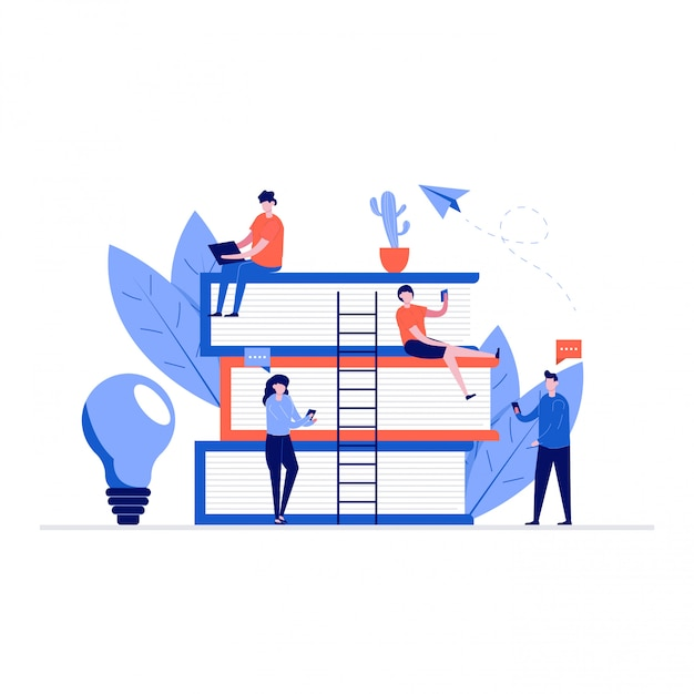 Concetto di illustrazione di formazione online con personaggi e libri. apprendimento degli studenti con smartphone, gadget. Vettore Premium
