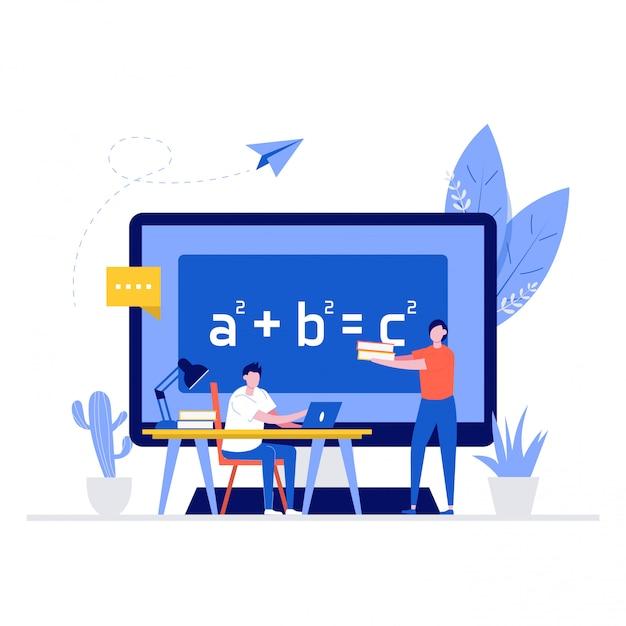 Concetto di illustrazione di formazione online con personaggi. studente che impara a casa, seduto alla scrivania, guardando il laptop, studiando con i quaderni e l'insegnante lo aiuta. Vettore Premium