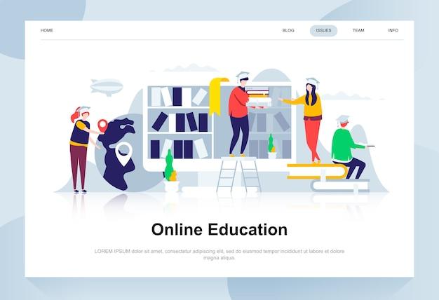 Concetto di design piatto moderno di formazione online. Vettore Premium