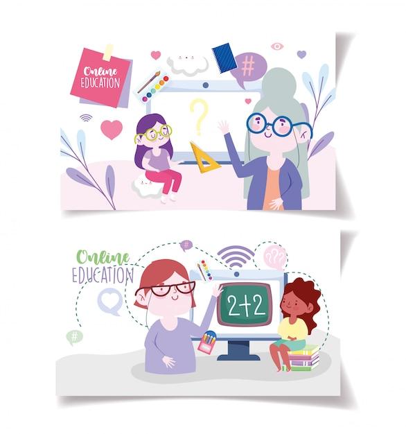 Formazione online, tecnologia per tablet computer per insegnanti e ragazze, siti web e corsi di formazione mobili Vettore Premium