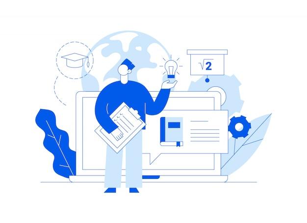 Insegna online della pagina web di istruzione con il grande uomo moderno che tiene lampadina e lista di controllo. Vettore Premium