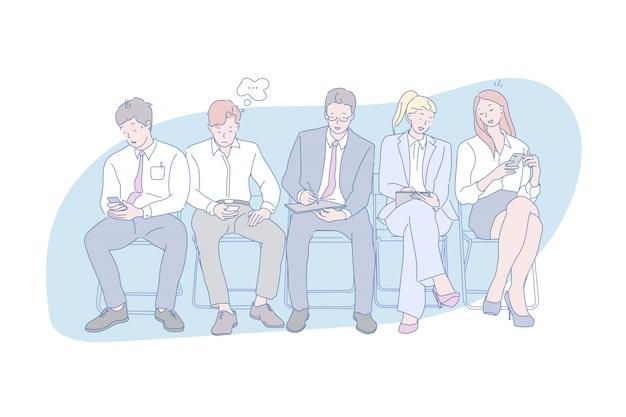 Online, dipendenza da gadget, social media, gioventù, illustrazione. Vettore Premium