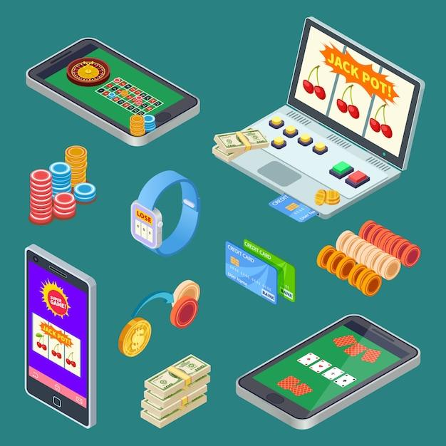 Gioco d'azzardo online, elementi vettoriali isometrici di app di casinò Vettore Premium