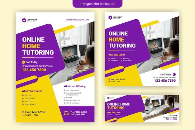 Volantino di tutoraggio online a casa e design del modello di banner per social media Vettore Premium