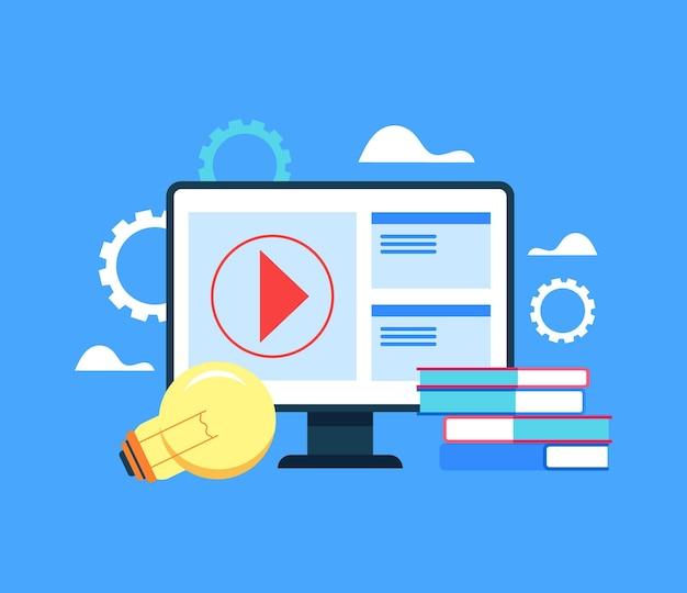 Concetto di formazione online su internet. cartone animato Vettore Premium