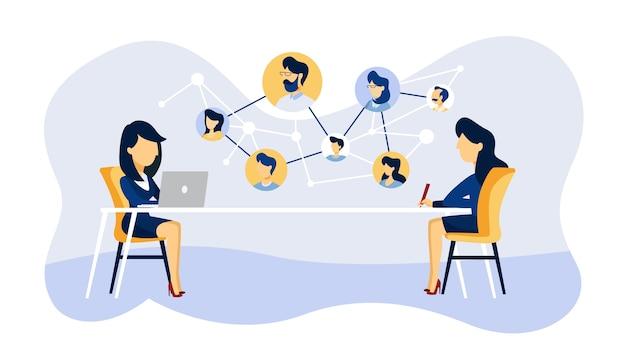 Colloquio di lavoro online. responsabile delle risorse umane alla ricerca di un candidato di lavoro su internet. concetto di reclutamento. illustrazione Vettore Premium
