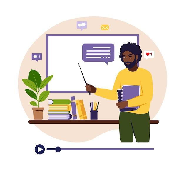 Concetto di apprendimento online. insegnante africano alla lavagna, lezione video. Vettore Premium