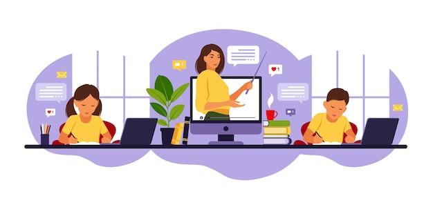 Concetto di apprendimento online. classe in linea. insegnante di donna alla lavagna, lezione video. Vettore Premium