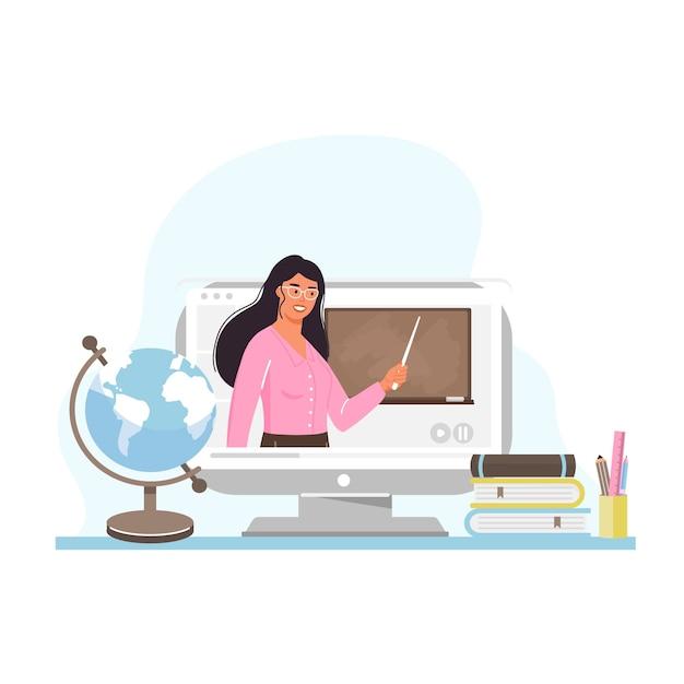 Apprendimento online. insegnante di giovane donna sullo schermo del computer. Vettore Premium