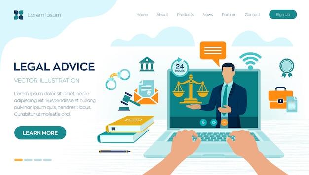 Concetto di consulenza legale online. diritto del lavoro, avvocato, avvocato. sito web dell'avvocato sullo schermo del laptop. consulenza legale professionale online, assistenza legale in azienda. Vettore Premium
