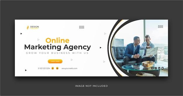 Agenzia di marketing online e modello di progettazione di banner web creativo moderno Vettore Premium