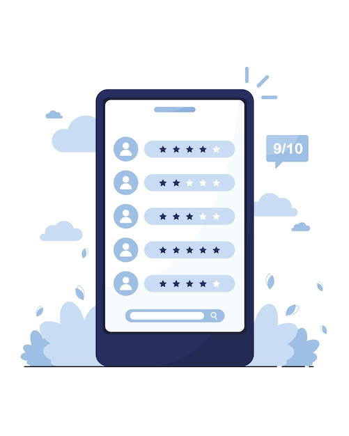 Marketing online. telefona con una pagina di recensioni su clienti, venditori, lavoratori. cerca un dipendente. offerta di lavoro. modello di voto. profili dei membri. blu Vettore Premium