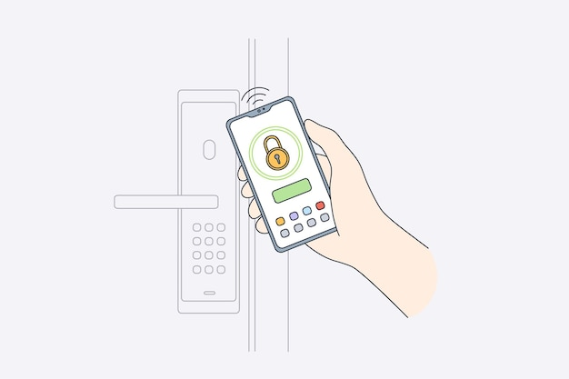 Concetto di sistema di sicurezza mobile online Vettore Premium