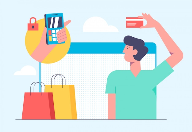 Concetto di shopping mobile online. illustrazione in stile piatto design. equipaggi l'acquisto dei prodotti dalla carta di credito ed effettui il pagamento su internet. Vettore Premium