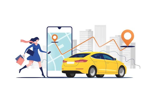 Ordinazione online di taxi, noleggio e condivisione utilizzando l'applicazione mobile del servizio. Vettore Premium