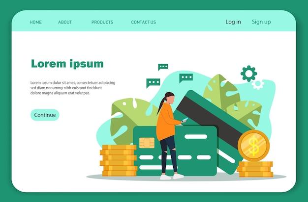 Pagamenti online. modello di pagina di destinazione dello scambio di criptovaluta. Vettore Premium